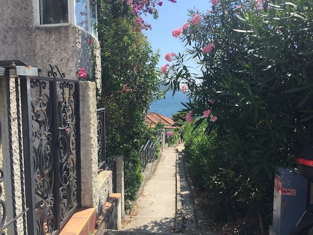 Entrance on the left to the building of the apartment (1st floor) about 30 meter distance from the sea ahead