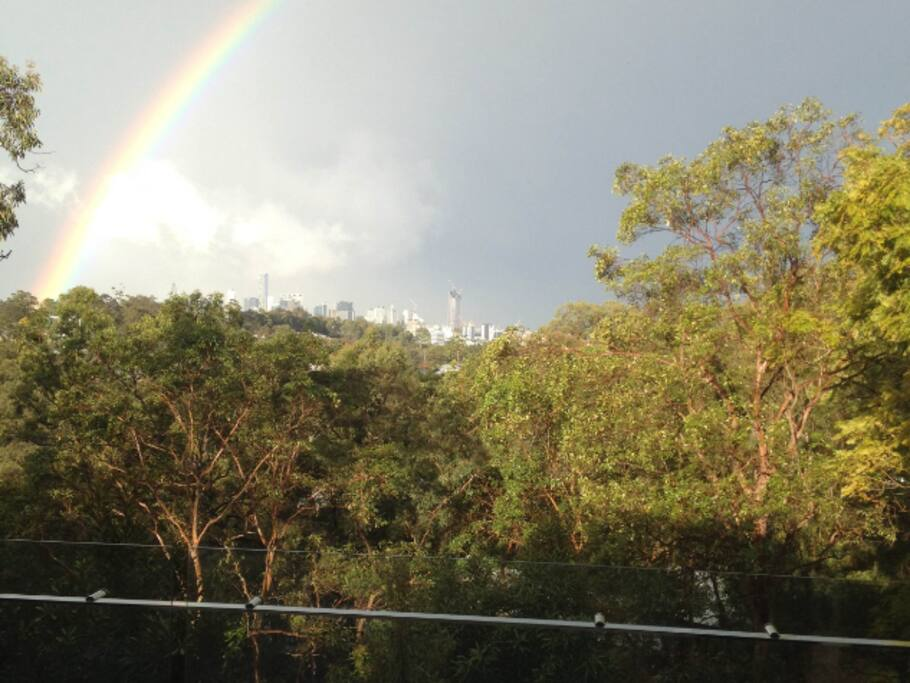Rainbow over Brisbane City.