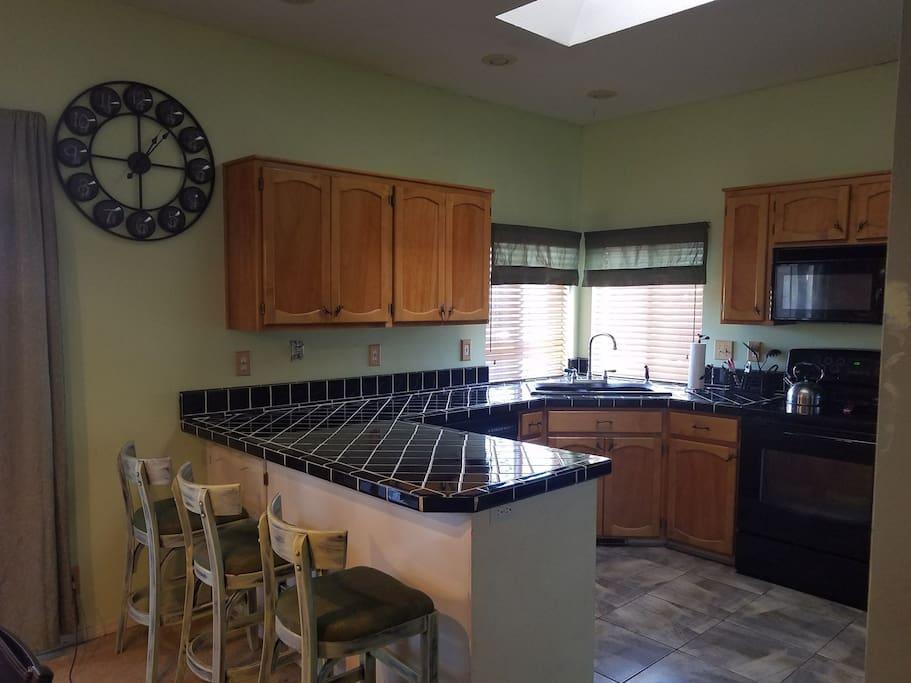 Fully stocked kitchen.