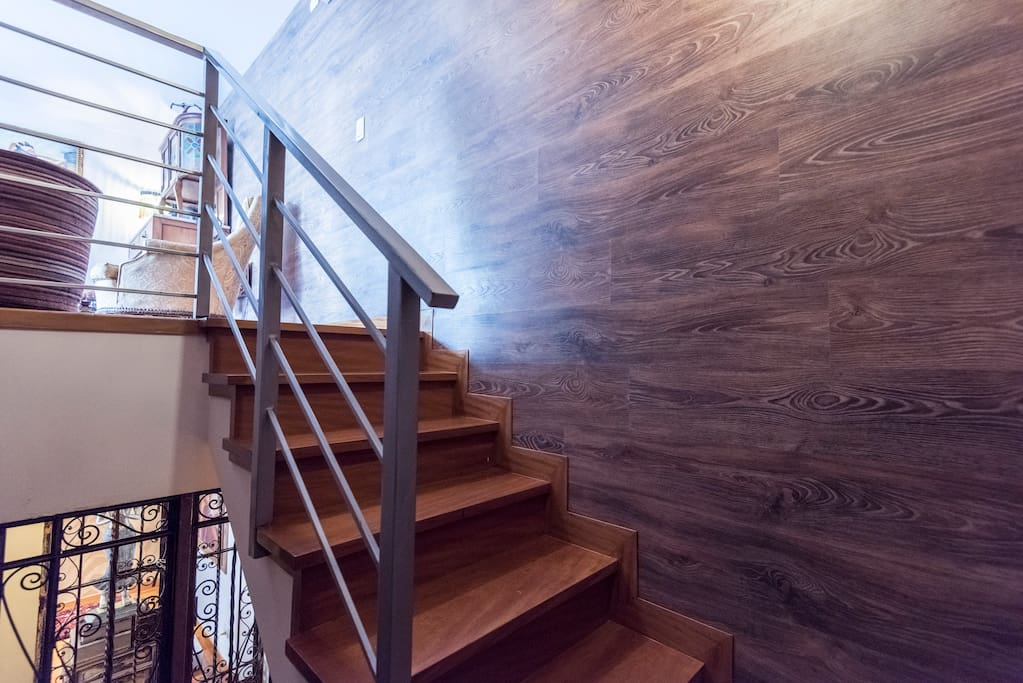 Wooden stairs to your apartment.