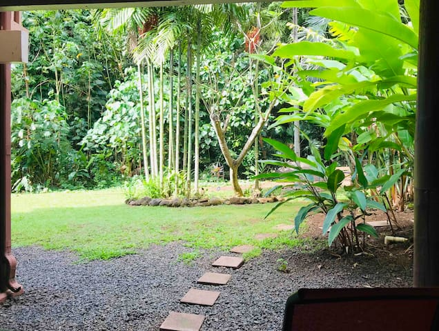 Enjoy the lush backyard view from the main Lanai- 2 nice rocking chairs to relax in!