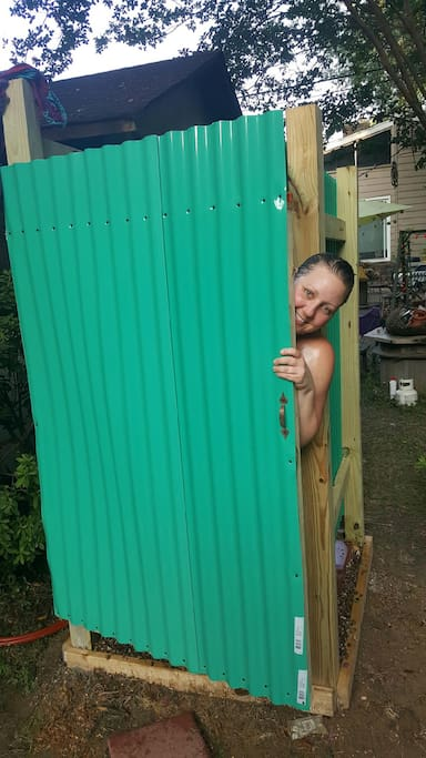 We now have an outdoor shower!