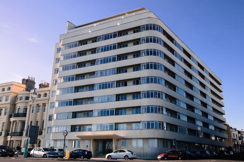 Embassy Court, the beautiful 1930's Modernist icon. The apartment is on the top floor at the very front of the L-shaped building, directly facing the sea.