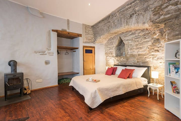 ⛪Tallinn Housing- Medieval Wall Studio & Fireplace