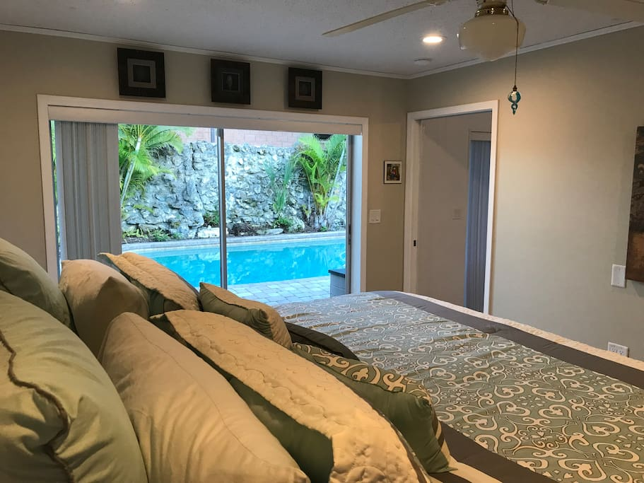 View of Pool from Master Bedroom