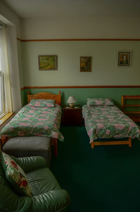 Twin room with extra pull out bed if needed for a third guest.