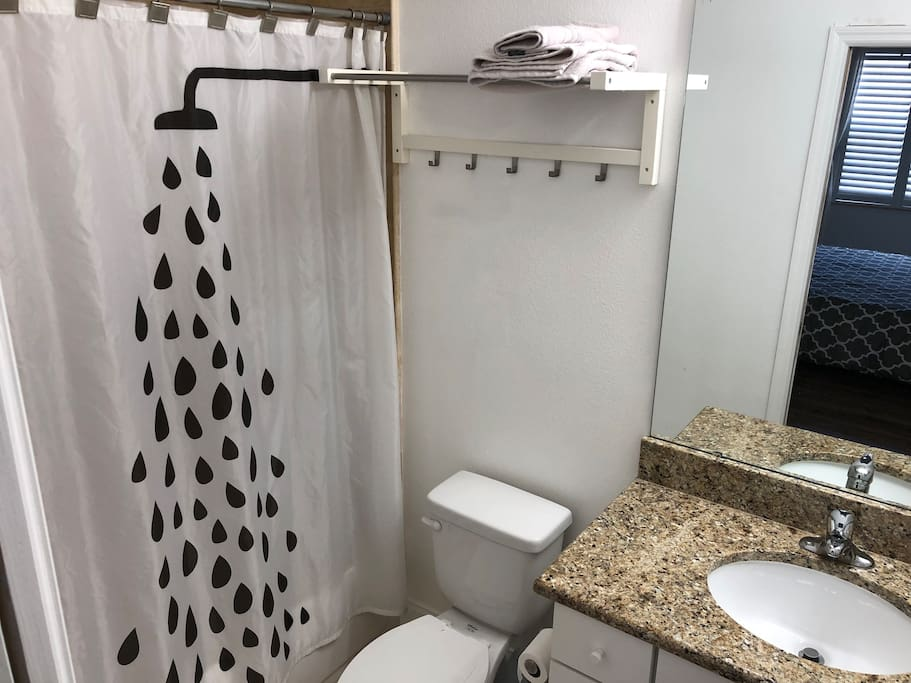 Private bath with access to room