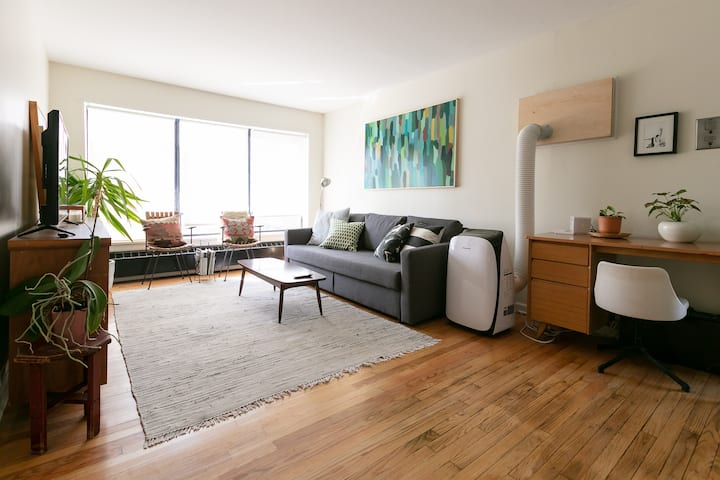 Sunny Midcentury Corner Apartment with Parking