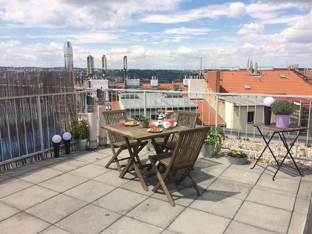 Top attic with 30m2 terrace view to the castle
