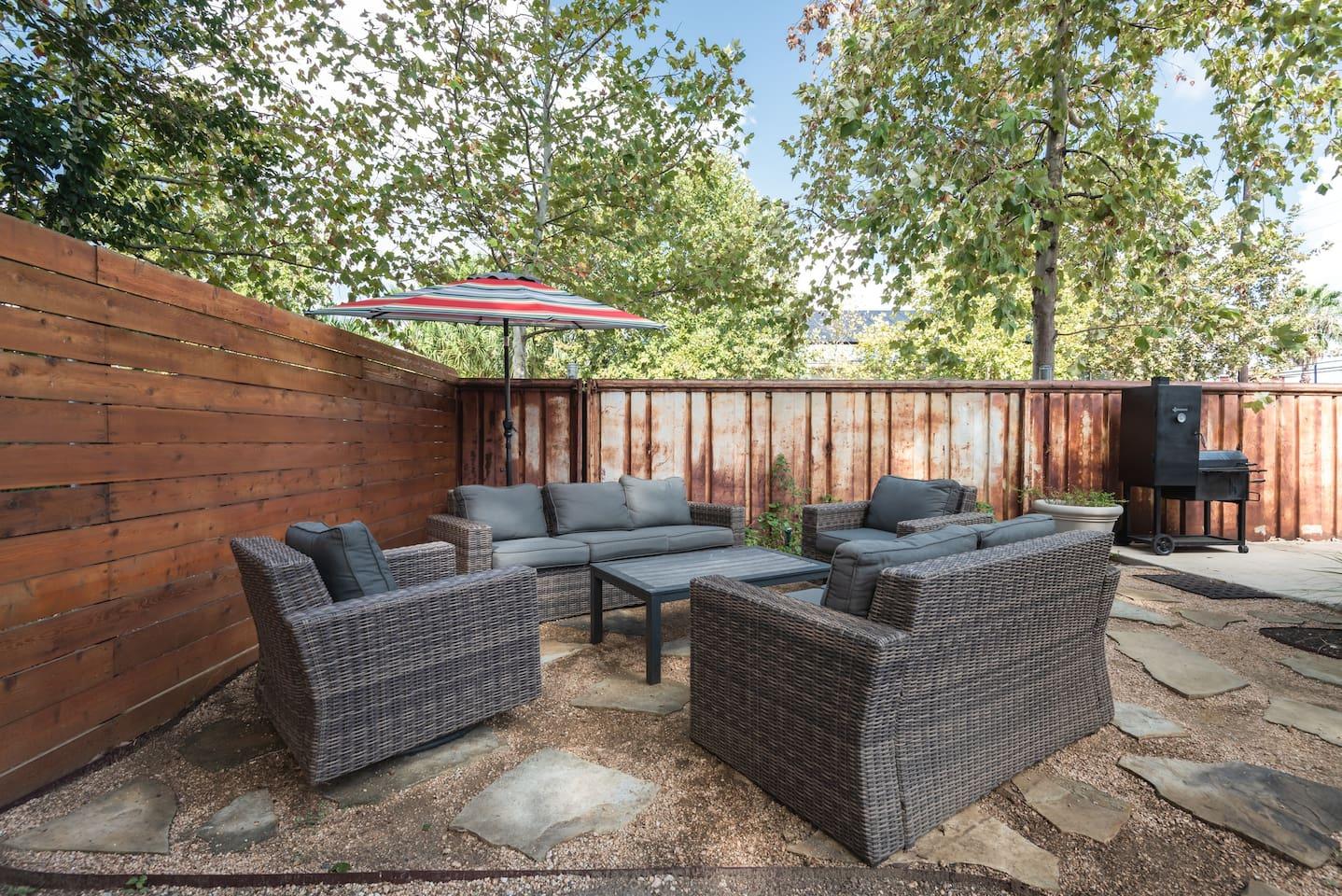 Outdoor backyard area for entertaining.