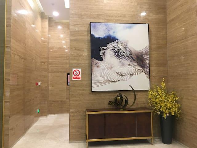 公馆G层大厅入口景观后面是电梯两部