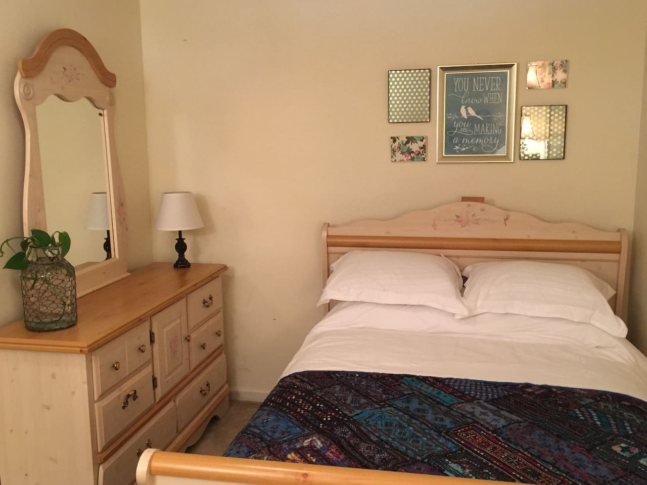 Full Bed with Dresser and Mirror