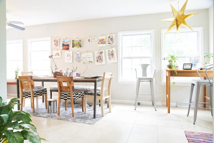 Come paint in my bright sun room!