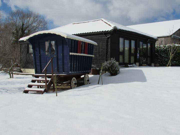 Orchard Barn & The Showmans Wagon.