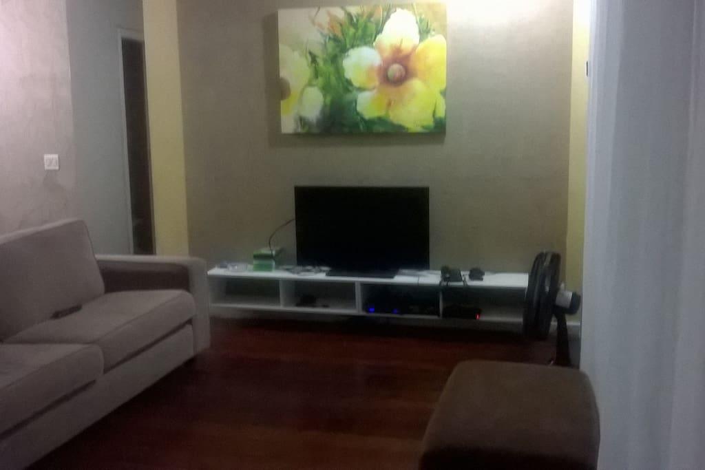Sala ampla com tv