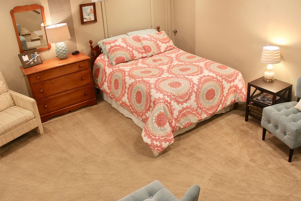 double bed, dresser available for your clothes (additional blankets and pillow available in bottom drawer), alarm clock