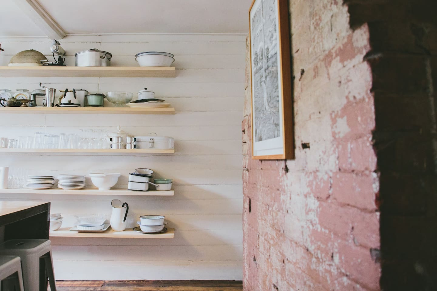 Everything you need in the kitchen, plus a large personal collection of vintage enamelware