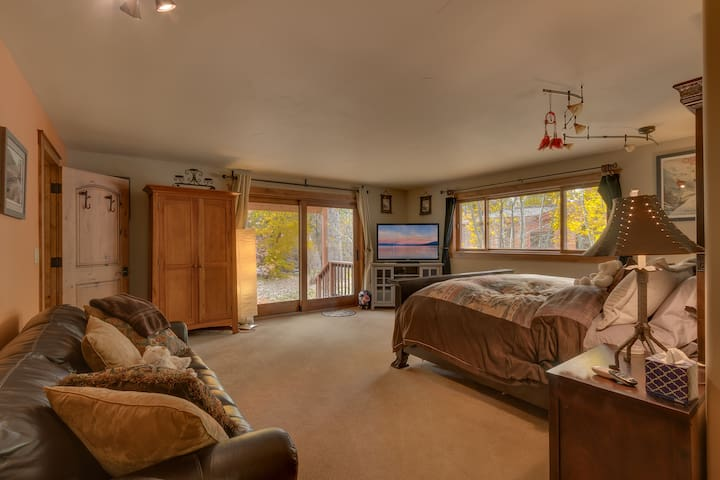 Downstairs master suite bedroom with king bed and queen sofa bed
