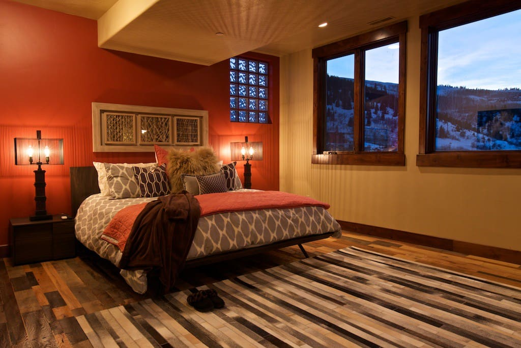 Our huge master bedroom has a king bed and insane view of Park City. Luxury.