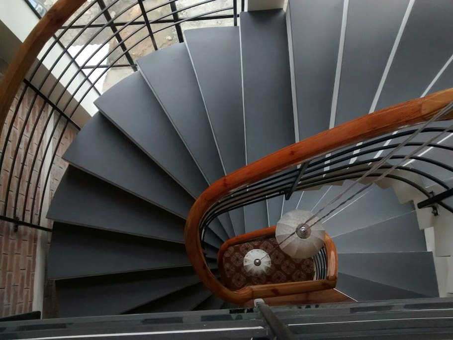 The Spiral staircase that connects all the rooms