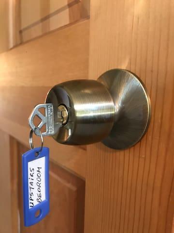 Lock & Keys on bedroom door for privacy.