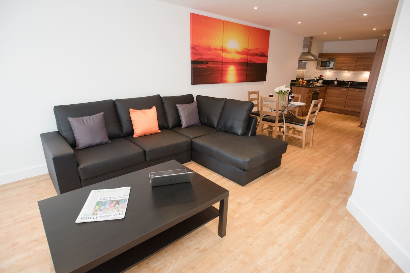 The images provided are of one of a number of apartments we have within Projection West and so while your apartment may not be identical to the apartment shown, the images provided offer a very accurate representation of the standard and décor of all our apartments.