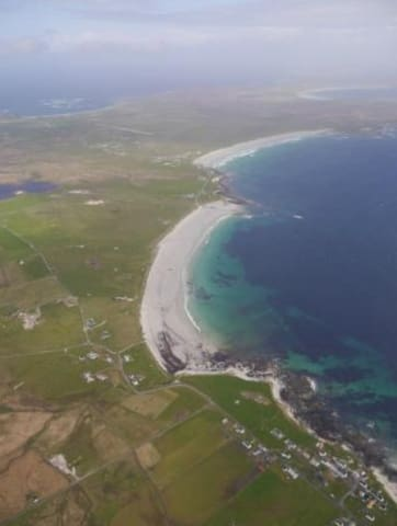 Balemartine from the air with the stunning colours of Soroby beach