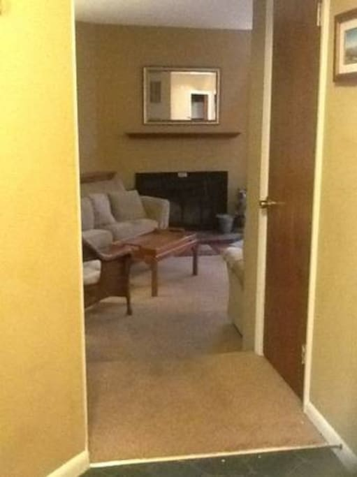 Condo entrance with closet on your right.