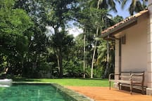 Newly renovated pool and decking areas with hardwood timber decking.y b