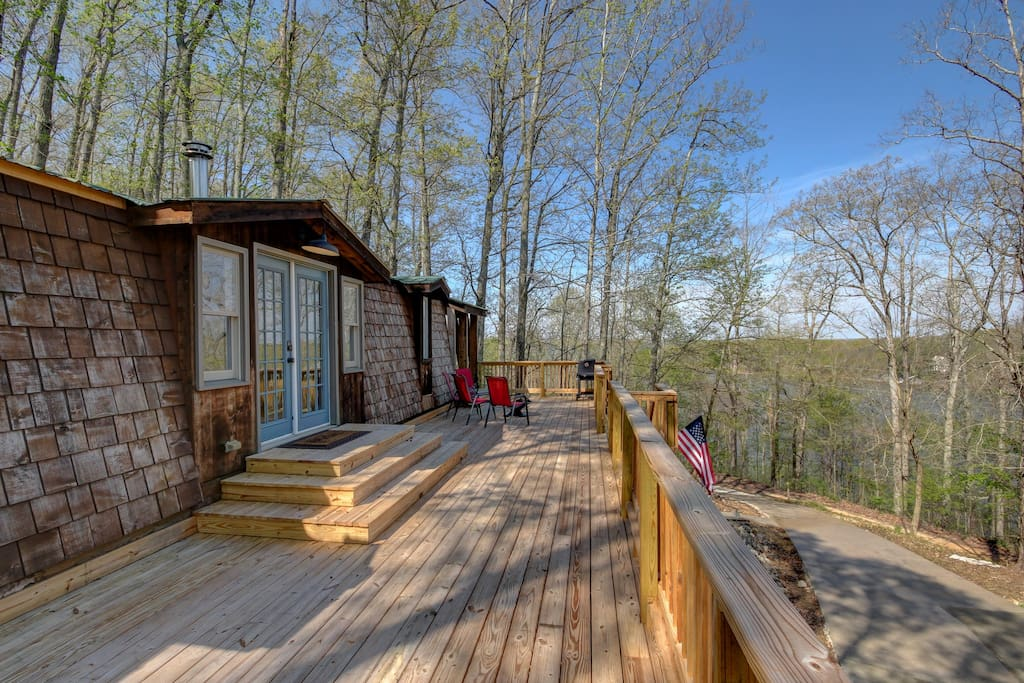 Front deck with view of lake