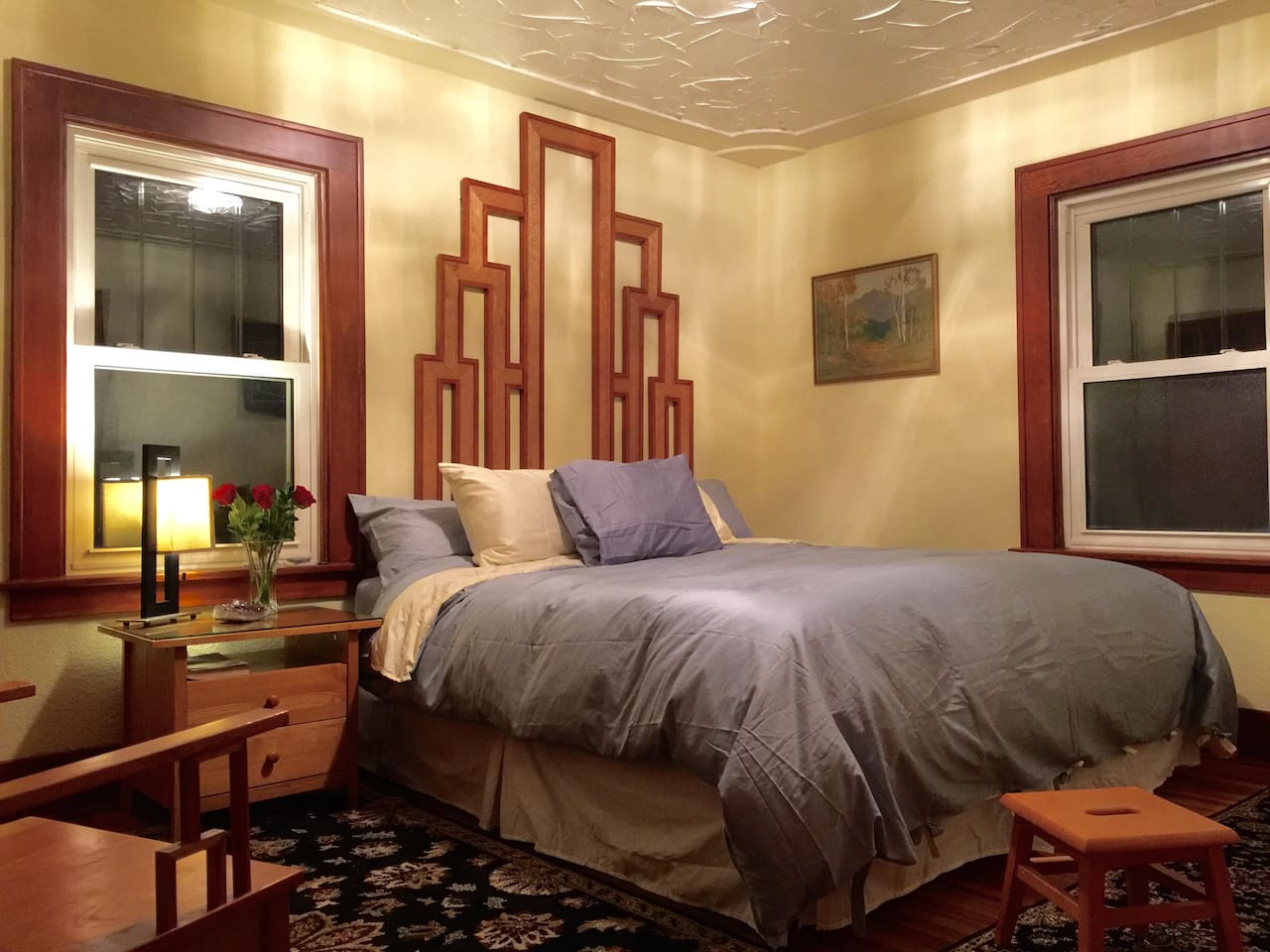 Master Bedroom King Bed Down Comforter. Custom Cherry and Pressed Maple 8 1/2' Headboard.