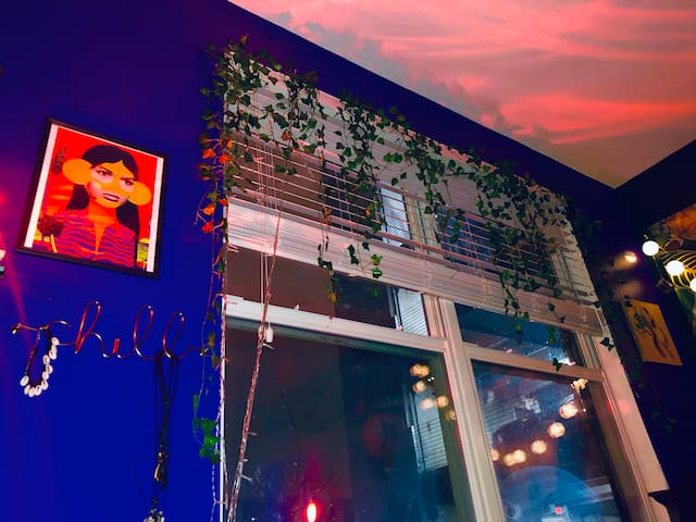 Hanging flowers and art. Gotta love it!