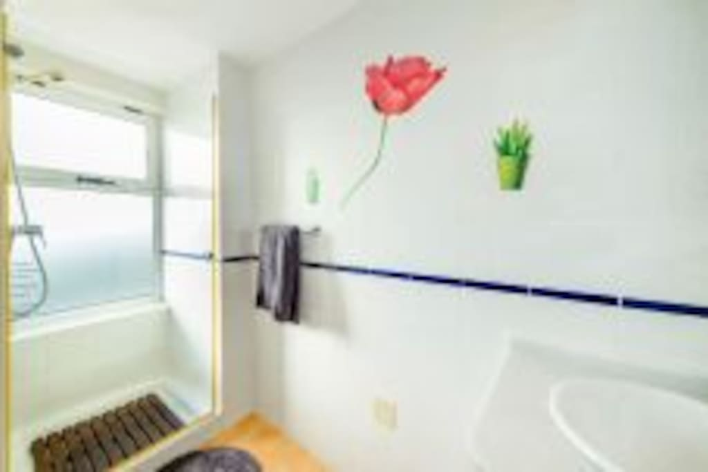 One master bathroom with shower other with tub