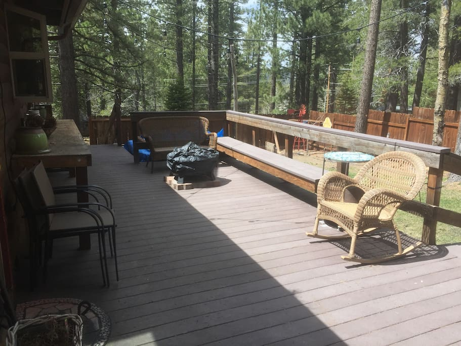 The backyard deck with hottub