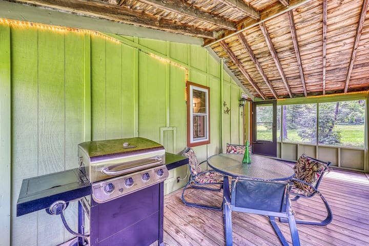 Lakeview cabin with beach access, screened-in porch, gas grill, and more!