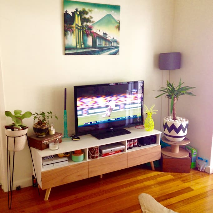 Flat screen tv with FOXTEL and PS4