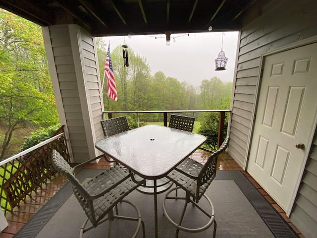 Eye popping view of nature from this covered porch