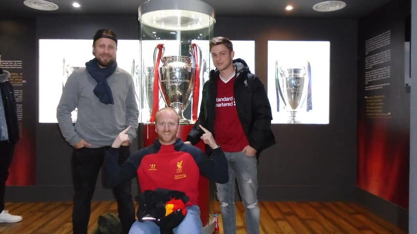 Jurka, Martin and Philipe with one of 5 European Cups in the LFC museum.