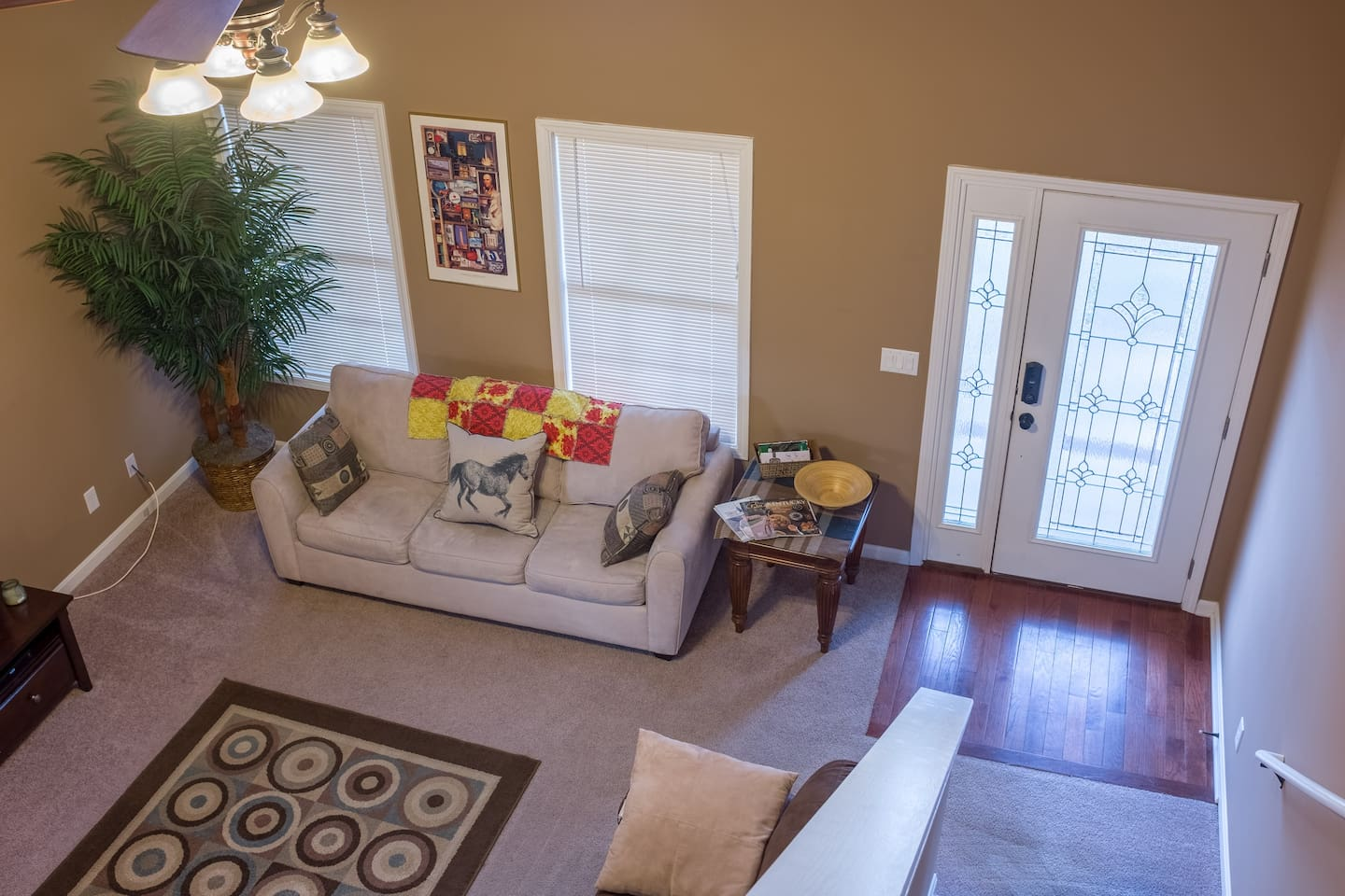 Great room from top of stairs