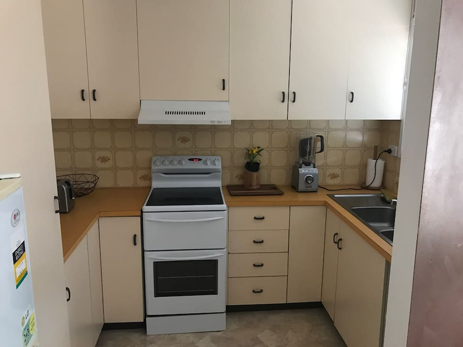 Full kitchen with all cooking equipment and crockery provided.