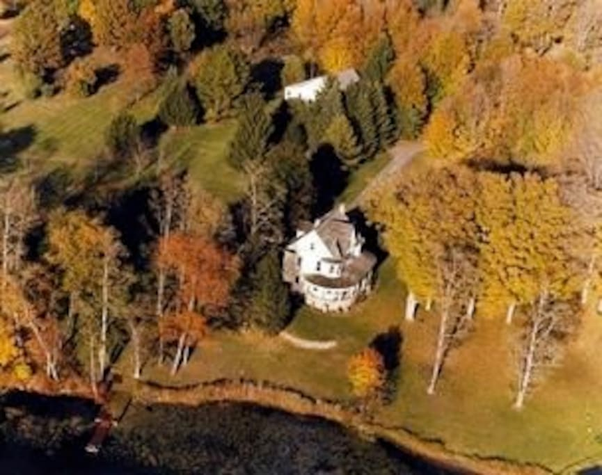11 acre lakeside property at the base of Stissing Mountain contains main house and guest cottage