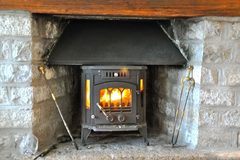 A warm fireplace