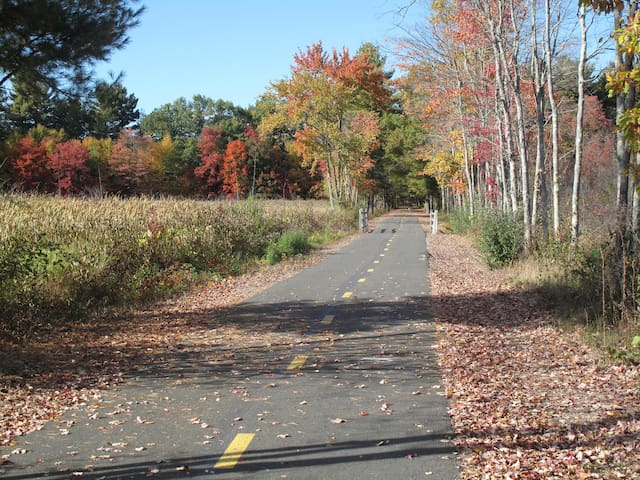 The nearby scenic 80-mile paved trail is great for all ages and exercise levels.  Take a short stroll, long bike ride, run, or roller blade.  Ample parking, outdoor toilet.