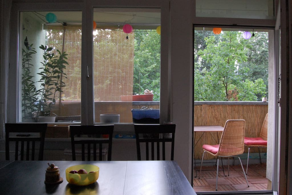 The balcony seen from the living room.
