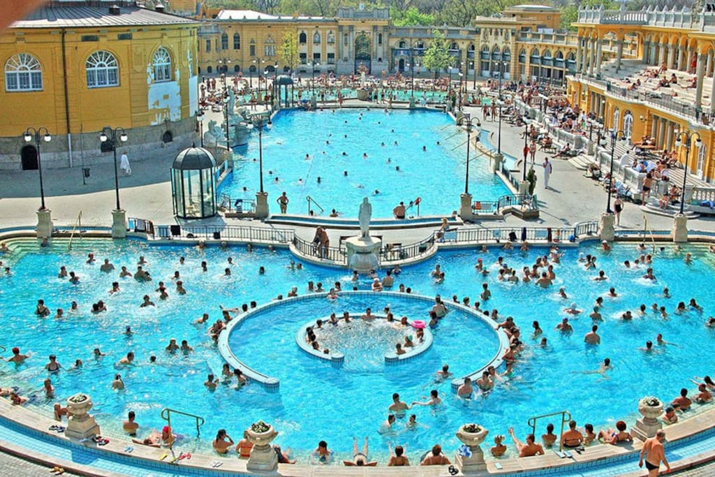 Széchenyi Bath is the most recommended thermal bath in Budapest! Only 7-9 minutes walk from our apartment, Or 1 stop with #72 trolley!