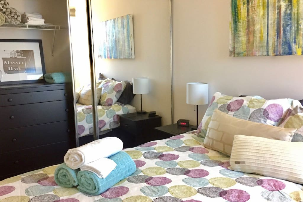 Room includes full closet, chest of drawers, side tables w reading lights, fresh linens and iron