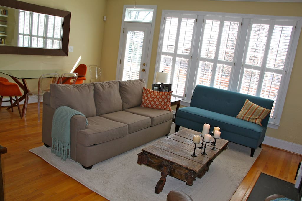 New couches with a queen-size sleeper sofa for extra guests