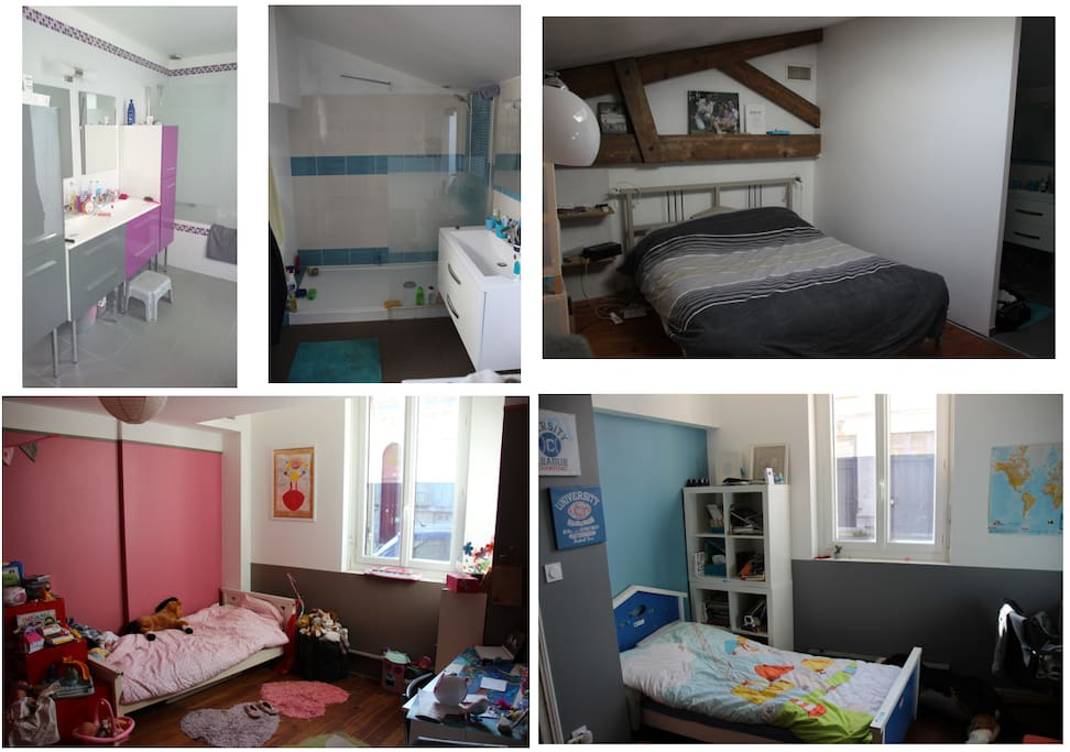 La chambre parentale avec sa salle d'au privative et les deux chambres des enfants