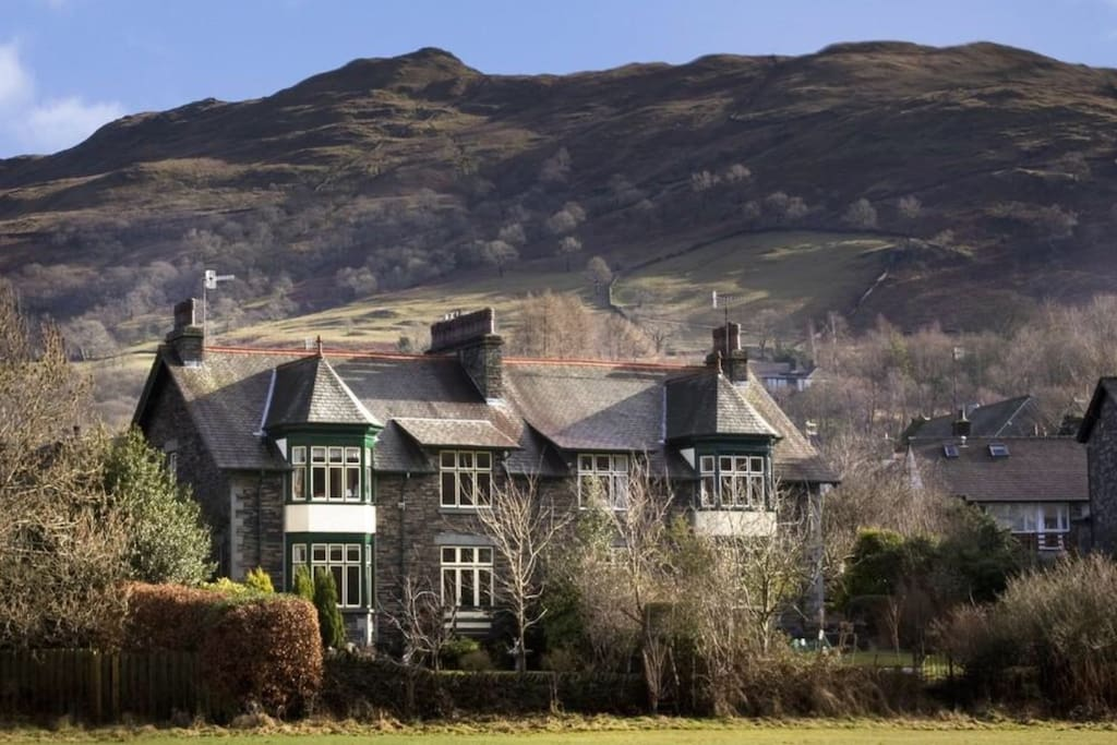 View of the house from the field.  Wansfell in the background