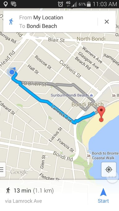 I can walk to the beach in under 10 minutes but google maps must walk a little slower... :) It's one flat, straight walk down through the center of bondi's cafe area to famous Bondi beach.